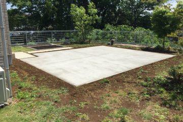 柏市にてお庭をBBQのできるスペースにコンクリート工事完了!!
